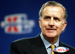 FILE - NFL Commissioner Paul Tagliabue delivers his State of the NFL remarks ahead of Super Bowl XL in Detroit, in this Friday, Feb. 3, 2006, file photo. Tagliabue will be enshrined as part of the 2020 class voted into the Pro Football Hall of Fame. (AP Photo/Michael Conroy, File)