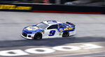 Chase Elliott (9) drives during qualifying for a NASCAR Cup Series auto race, Friday, April 5, 2019, in Bristol, Tenn. Elliott will start on the pole for the race Sunday. (AP Photo/Wade Payne)