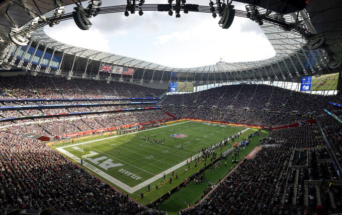 The New York Jets take on the Atlanta Falcons during an NFL football game at Tottenham Hotspur Stadium in London, Sunday, Oct. 10, 2021. (AP Photo/Steve Luciano)