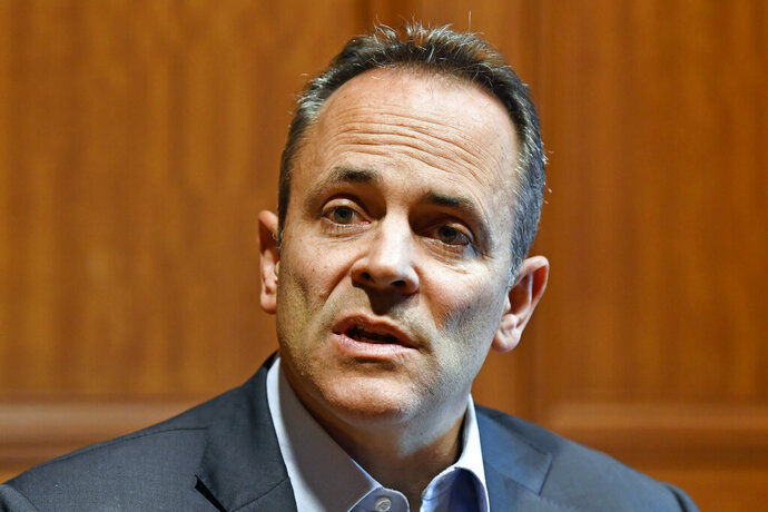 Kentucky Governor Matt Bevin discusses the upcoming recanvass of the Governor's race in Frankfort, Ky., Wednesday, Nov. 13, 2019. (AP Photo/Timothy D. Easley)