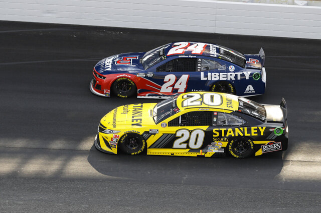Erik Jones (20) and William Byron (24) head into the first turn during the NASCAR Cup Series auto race at Indianapolis Motor Speedway in Indianapolis, Sunday, July 5, 2020. (AP Photo/Darron Cummings)