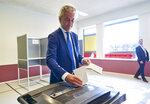 Leader of Dutch Party for Freedom Geert Wilders casts his ballot for the European elections in The Hague, Netherlands, Thursday, May 23, 2019. (AP Photo/Phil Nijhuis)