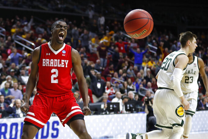 Bradley guard Luqman Lundy (2) celebrates after a basket during a first round men's college basketball game against Michigan State in the NCAA Tournament, Thursday, March 21, 2019, in Des Moines, Iowa. (AP Photo/Charlie Neibergall)