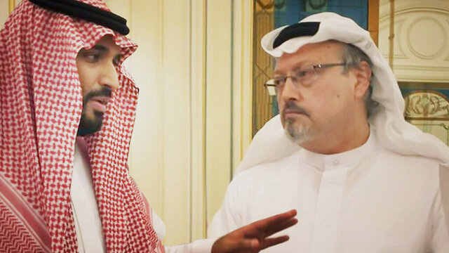 This image released by Briarcliff Entertainment shows Saudi Crown Prince Mohammed bin Salman, left, with journalist Jamal Khashoggi in a scene from the documentary