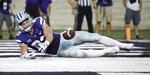 Kansas State wide receiver Dalton Schoen (83) misses a pass in the end zone during the first half of an NCAA college football game against South Dakota Saturday, Sept. 1, 2018, in Manhattan, Kan. (AP Photo/Charlie Riedel)