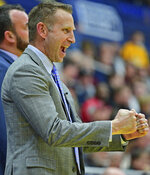 Buffalo head coach Nate Oats celebrates during the second half of an NCAA college basketball game against Kent State, Friday, Jan. 25, 2019, in Kent, Ohio. (AP Photo/David Dermer)