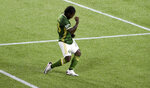 Portland Timbers forward Yimmi Chara celebrates after scoring a goal during the first half of the team's MLS soccer match against the Seattle Sounders in Portland, Ore., Wednesday, Sept. 23, 2020. (AP Photo/Steve Dykes)