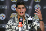 Pittsburgh Steelers quarterback Mason Rudolph meets with reporters after an NFL football game against the Seattle Seahawks in Pittsburgh, Sunday, Sept. 15, 2019. (AP Photo/Gene J. Puskar)