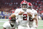 Alabama quarterback Jalen Hurts (2) celebrates after scoring the during the fourth quarter against Georgia during an NCAA college football game for the Southeastern Conference championship Saturday, Dec. 1, 2018, in Atlanta. (AJ ReynoldsAthens Banner-Herald via AP)