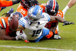 Detroit Lions wide receiver Kenny Golladay (19) dives in for a touchdown against the Denver Broncos during the second half of an NFL football game, Sunday, Dec. 22, 2019, in Denver. (AP Photo/David Zalubowski)