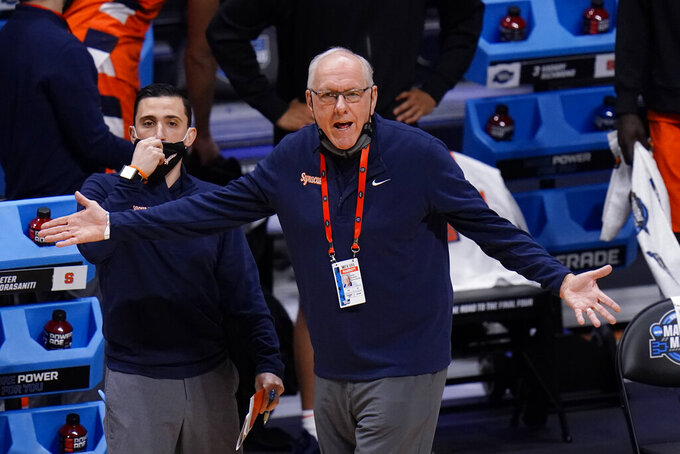 Syracuse head coach Jim Boeheim watches against Houston in the first half of a Sweet 16 game in the NCAA men's college basketball tournament at Hinkle Fieldhouse in Indianapolis, Saturday, March 27, 2021. (AP Photo/AJ Mast)
