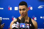 Philadelphia 76ers' Zhaire Smith speaks with members of the media during the NBA basketball team's minicamp in Camden, N.J., Monday, July 1, 2019. (AP Photo/Matt Rourke)