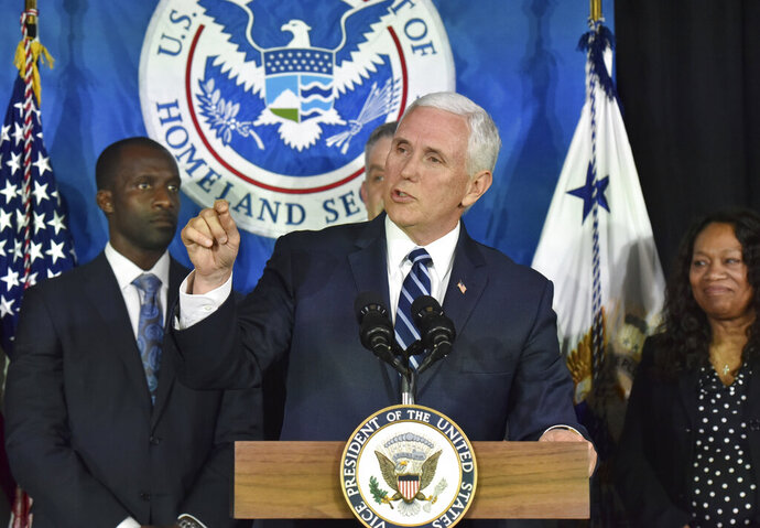 Vice President Mike Pence speaks to Immigration and Customs Enforcement employees after receiving a briefing at Homeland Security Investigation Principal Field Offices in Atlanta on Thursday, March 21, 2019.(Hyosub Shin/Atlanta Journal-Constitution via AP, Pool)