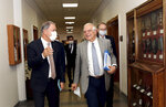 Josep Borrell Fontelles, High Representativeand Vice-Presidentof the European Commission, right, and Turkey's Defense Minister Hulusi Akar speak before a meeting in Ankara, Turkey, Monday, July 6, 2020. Turkey's Foreign Minister Mevlut Cavusoglu on Monday called on the European Union to be an