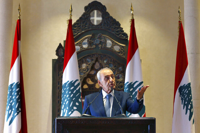 Lebanese Parliament Speaker Nabih Berri, speaks during a news conference, in Beirut, Lebanon, Thursday, Oct. 1, 2020. Berri announced Thursday that an agreement has been reached on a framework of indirect talks between Lebanon and Israel over the longstanding disputed maritime border between the two countries. (AP Photo/Bilal Hussein)