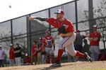Washington Nationals pitcher Stephen Strasburg throws a bullpen session during spring training baseball practice Friday, Feb. 14, 2020, in West Palm Beach, Fla. (AP Photo/Jeff Roberson)