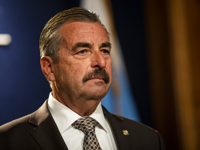 Former Los Angeles Police Chief Charlie Beck speaks during a news conference at City Hall after Mayor Lori Lightfoot officially announced he would be Chicago's interim police superintendent, Friday, Nov. 8, 2019.  Beck's name surfaced as a possible interim superintendent even before Eddie Johnson made his expected announcement that he was stepping down after more than three years as superintendent and more than 30 years with the department. Johnson, 59, will remain with the department until the end of the year, Lightfoot said. (Ashlee Rezin Garcia /Chicago Sun-Times via AP)
