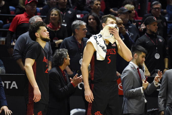 San Diego State guard Jordan Schakel (20) and Yanni Wetzell (5) look on from the bench during the second half of an NCAA college basketball game against UNLV, Saturday, Feb. 22, 2020, in San Diego. (AP Photo/Denis Poroy)