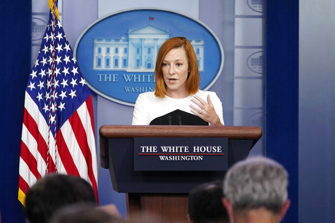 White House press secretary Jen Psaki speaks during the daily briefing at the White House in Washington, Wednesday, Sept. 22, 2021. (AP Photo/Susan Walsh)