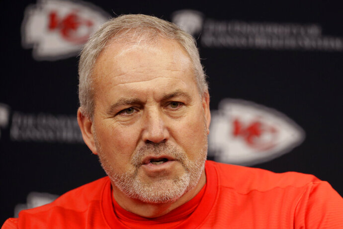 Kansas City Chiefs special teams coach Dave Toub addresses the media during an NFL football news conference Thursday, Jan. 23, 2020 at Arrowhead Stadium in Kansas City, Mo. The Chiefs will face the San Francisco 49ers in Super Bowl 54. (AP Photo/Charlie Riedel)