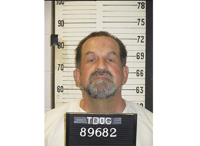 FILE - This photo provided by Tennessee Department of Correction shows death row inmate Nicholas Sutton. Sutton has been placed on death watch. According to the Tennessee Department of Correction, Sutton was moved to a cell next to the execution chamber early Tuesday, Feb. 18, 2020, where he'll be under 24-hour surveillance. The 58-year-old is scheduled to be executed Thursday, Feb. 20 for killing a fellow inmate.  (Tennessee Department of Correction via AP, File)