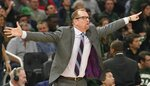 Toronto Raptors head coach Nick Nurse reacts during the first half of Game 5 of the NBA Eastern Conference basketball playoff finals against the Milwaukee Bucks Thursday, May 23, 2019, in Milwaukee. (AP Photo/Morry Gash)