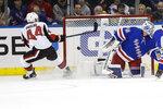 Ottawa Senators' Jean-Gabriel Pageau (44) shoots the puck past New York Rangers goaltender Alexandar Georgiev during the second period of an NHL hockey game Monday, Nov. 4, 2019, in New York. (AP Photo/Frank Franklin II)