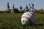 Seattle Mariners pitchers participate in a drill during spring training baseball practice Thursday, Feb. 13, 2020, in Peoria, Ariz. (AP Photo/Charlie Riedel)