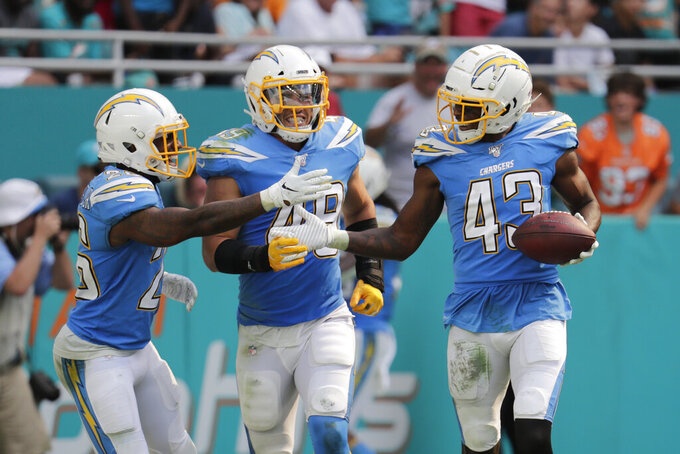 Los Angeles Chargers cornerback Casey Hayward (26) and linebacker Drue Tranquill (49), congratulate cornerback Michael Davis (43) after Davis intercepted a pass, during the second half at an NFL football game against the Miami Dolphins, Sunday, Sept. 29, 2019, in Miami Gardens, Fla. The Chargers defeated the Dolphins 30-10. (AP Photo/Lynne Sladky)