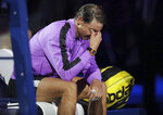 Rafael Nadal, of Spain, wipes tears from his eyes after defeating Daniil Medvedev, of Russia, to win the men's singles final of the U.S. Open tennis championships Sunday, Sept. 8, 2019, in New York. (AP Photo/Charles Krupa)