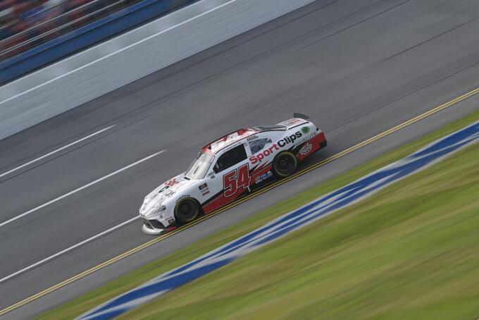 John Nemechek races during a NASCAR Xfinity Series auto race Saturday, Oct. 2, 2021, in Talladega, Ala. (AP Photo/John Amis)