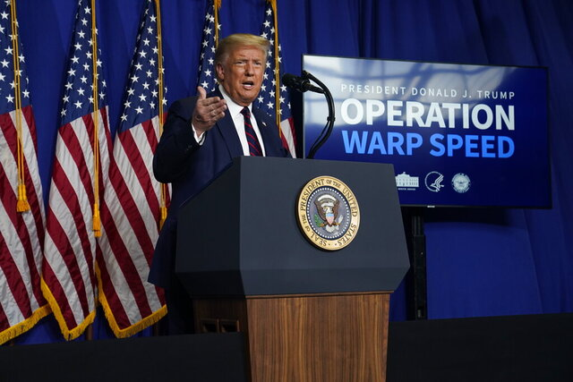 President Donald Trump speaks during a coronavirus briefing at Bioprocess Innovation Center at Fujifilm Diosynth Biotechnologies, Monday, July 27, 2020, in Morrisville, N.C. (AP Photo/Evan Vucci)