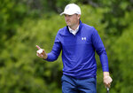 Jordan Spieth waves to the gallery after making a birdie on the ninth hole during the second round of the AT&T Byron Nelson golf tournament in McKinney, Texas, Friday, May 14, 2021. (AP Photo/Ray Carlin)