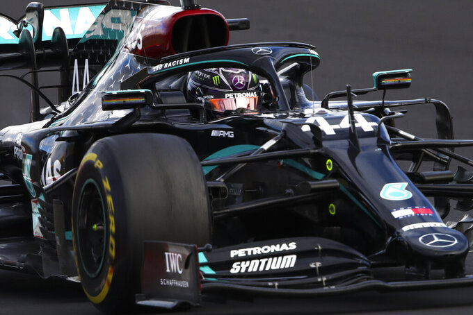 Mercedes driver Lewis Hamilton of Britain steers his car during the Eifel Formula One Grand Prix at the Nuerburgring racetrack in Nuerburg, Germany, Sunday, Oct. 11, 2020. (Bryn Lennon, Pool via AP)