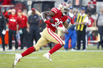 San Francisco 49ers running back Jeff Wilson Jr. (30) runs toward the end zone to score against the Arizona Cardinals during the second half of an NFL football game in Santa Clara, Calif., Sunday, Nov. 17, 2019. (AP Photo/Josie Lepe)