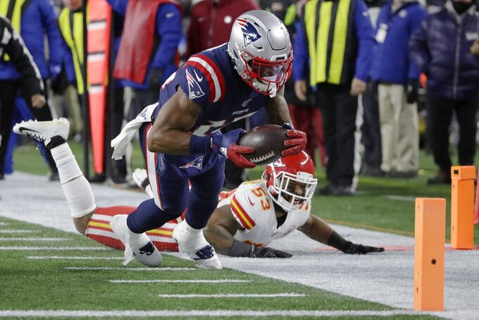 New England Patriots wide receiver N'Keal Harry runs for the goal line after catching a pass against the Kansas City Chiefs in the second half of an NFL football game, Sunday, Dec. 8, 2019, in Foxborough, Mass.The play was not ruled a touchdown. (AP Photo/Elise Amendola)