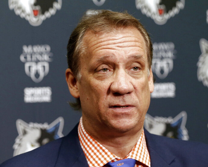 FILE - In this June 25, 2015, file photo, Minnesota Timberwolves president and coach Flip Saunders addresses members of the media during an NBA basketball news conference in Minneapolis. The Timberwolves wouldn't be in first place in the Northwest Division, tracking toward their first appearance in the playoffs in 14 years, without Flip Saunders. The Wolves will honor the beloved former head coach and front office boss on Thursday, Feb. 15, 2018, when they host the Los Angeles Lakers.  (AP Photo/Jim Mone, File)