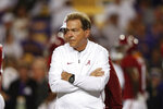 Alabama head coach Nick Saban walks on the field before an NCAA college football game against LSU in Baton Rouge, La., Saturday, Nov. 3, 2018. (AP Photo/Gerald Herbert)