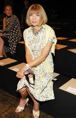 FILE - This Sept. 8, 2014 file photo shows Anna Wintour at Donna Karan's show during Fashion Week in New York.  Wintour offers and online MasterClass on creativity and leadership. (Photo by Mark Von Holden/Invision/AP, File)