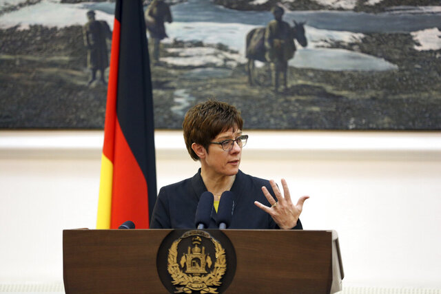 German Defense Minister Annegret Kramp-Karrenbauer speaks during a joint press conference, in Kabul, Afghanistan, Tuesday, Dec. 3, 2019. Kramp-Karrenbauer asked for the announcement of the Afghanistan 2019 presidential election results in her trip to Kabul. (AP Photo/Rahmat Gul)
