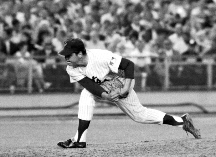 FILE - In this July 9, 1969, file photo, New York Mets right-handed pitcher Tom Seaver makes a second-inning delivery against the Chicago Cubs at New York's Shea Stadium where he hurled a one-hitter in a 4-0 victory. Seaver has been diagnosed with dementia and has retired from public life. The family of the 74-year-old made the announcement Thursday, March 7, 2019, through the Hall and said Seaver will continue to work in the vineyard at his home in California.  (AP Photo/File)