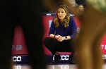 TCU head coach Raegan Pebley looks on as  her team plays against Baylor during the second half of an NCAA college basketball game Saturday, Jan. 12, 2019, in Fort Worth, Texas. (AP Photo/Ron Jenkins)