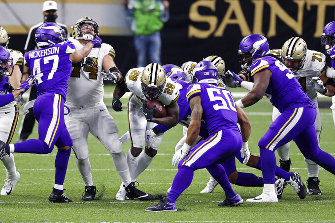 New Orleans Saints running back Latavius Murray (28) carries in the first half of an NFL football game against the Minnesota Vikings in New Orleans, Friday, Dec. 25, 2020. (AP Photo/Butch Dill)