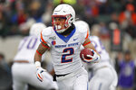 Boise State wide receiver Khalil Shakir runs for a short gain against Colorado State in the first half of an NCAA college football game Friday, Nov. 29, 2019, in Fort Collins, Colo. (AP Photo/David Zalubowski)