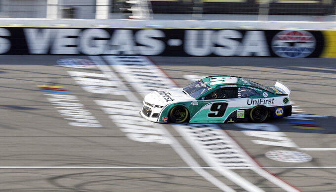 Chase Elliott drives during a NASCAR Cup Series auto race Sunday, Sept. 27, 2020, in Las Vegas. (AP Photo/Isaac Brekken)