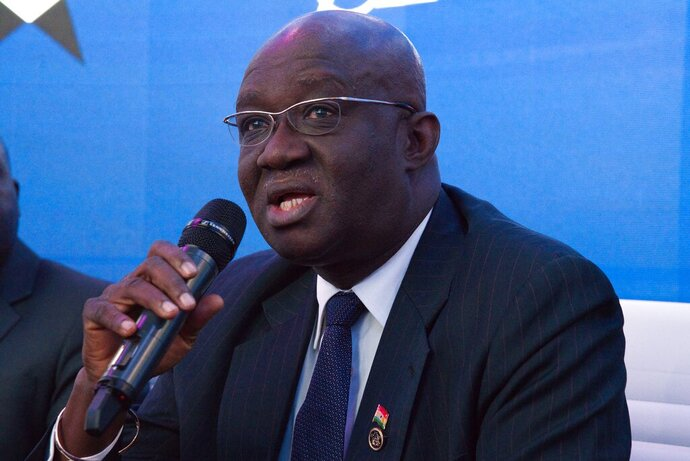Ghana Aviation Minister Joseph Kofi Adda speaks at a news conference at the Dubai Airshow in Dubai, United Arab Emirates, Tuesday, Nov. 19, 2019. Ghana said Tuesday that it will launch a national airline early next year with three new Boeing long-haul, widebody 787-9 Dreamliners. (AP Photo/Jon Gambrell)