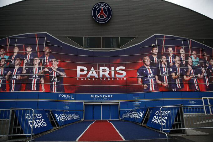 The Parc des Prices stadium is pictured the day before of the Champions League match between Borussia Dortmund and Paris Saint-Germain, in Paris, Tuesday, March 10, 2020. The Champions League match between Paris Saint-Germain and Borussia Dortmund will be played without fans because of the spread of the coronavirus, Paris police said Monday. (AP Photo/Thibault Camus)(AP Photo/Christophe Ena)