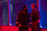 This image released by Warner Bros. Entertainment shows Robert Pattinson, right, and John David Washington in a scene from
