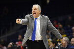 Hofstra coach Joe Mihalich points during the second half of the team's NCAA college basketball game against Northeastern for the championship of the Colonial Athletic Association men's tournament Tuesday, March 10, 2020, in Washington. Hofstra won 70-61. (AP Photo/Nick Wass)