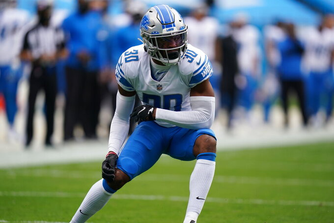 Detroit Lions cornerback Jeff Okudah (30) during an NFL football game against the Carolina Panthers on Sunday, Nov. 22, 2020 in Charlotte, NC. The Panthers defeated the Lions 20-0. (Detroit Lions via AP).
